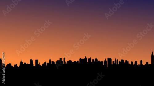 Fototapety, obrazy: Vector illustration of city landscape silhouette sunset.