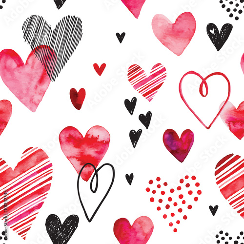 Materiał do szycia Wzór serca, bezszwowe tło wektor. Może służyć do zaproszenia ślubne, karty na Walentynki lub o miłości.