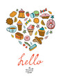 Hello card with hand drawn desserts composed in a heart