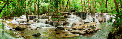 Photo Stands Waterfalls Paradise Waterfall (Huay Mae Kamin Waterfall) in Kanchanaburi, T