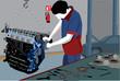 Mechanic repairing motor