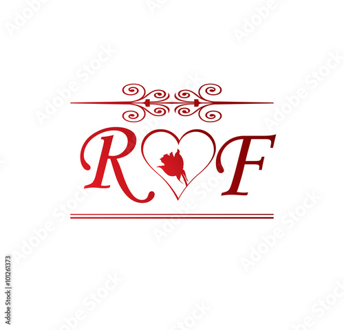 RF love initial with red heart and rose - Buy this stock vector ...