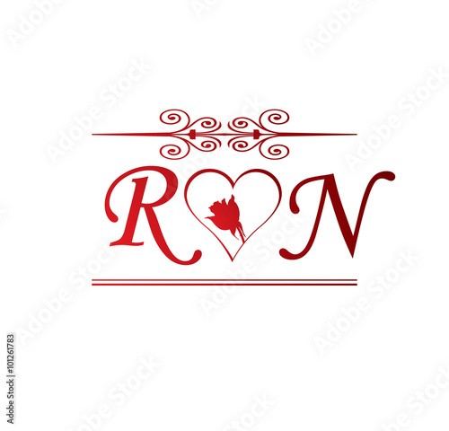 Rn Love Initial With Red Heart And Rose Buy This Stock Vector And Explore Similar Vectors At Adobe Stock Adobe Stock