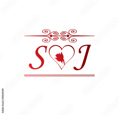 Sj Love Initial With Red Heart And Rose Buy This Stock Vector