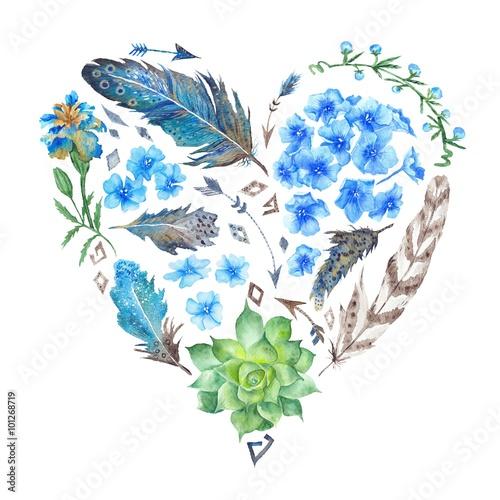 Fotografering  Boho Style Watercolor Heart Shape
