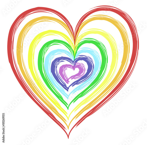 Watercolored heart painted in the seven rainbow colors red ...