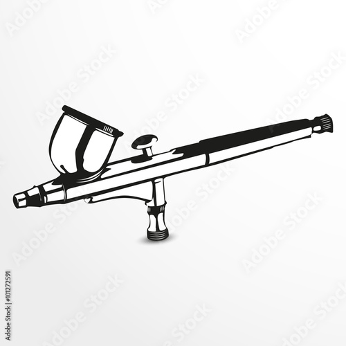 Airbrush. Vector illustration. Black and white view. Canvas Print
