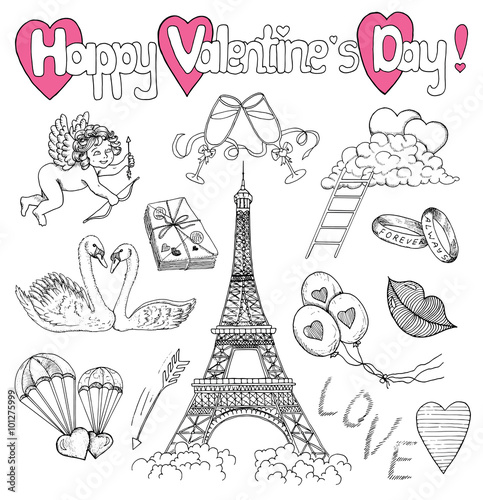 Poster Doodle Valentines Day set with love doodle icons