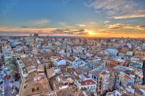 Fotobehang Praag Sunset Over Historic Center of Valencia, Spain.