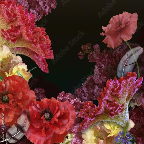 Foto op Canvas Bloemen floral design bouquet on black background
