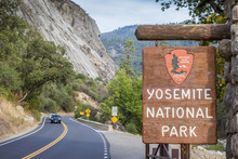 Entrance Sign At Yosemite National Park
