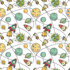 Tapeta Seamless space pattern with space, rockets, comet and planets. Childish background. Hand drawn vector illustration.