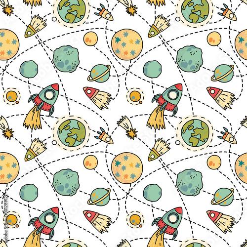 dziecinne-tlo-kosmos-rakiety