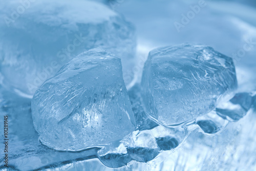 Frozen Ice Cubes Gems Abstract Crystal Blue Background Macro View Soft Focus