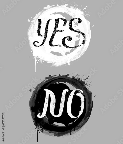 Yes No Composition With Splashes In Black And White Colors Buy