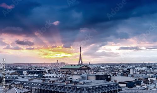 Paris skyline. Architectural city detail