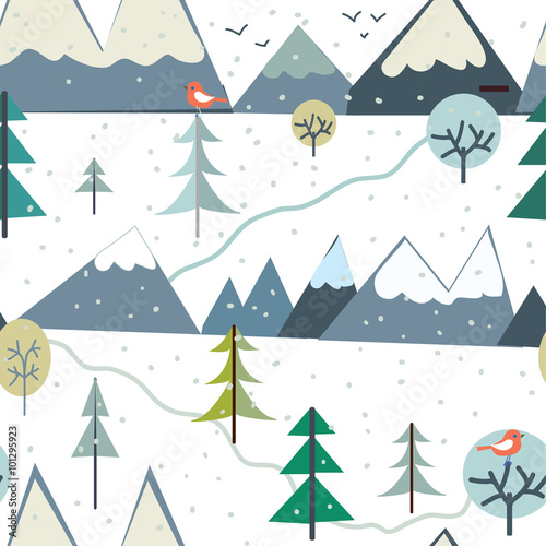 Cotton fabric Mountains at winter season seamless pattern - funny design