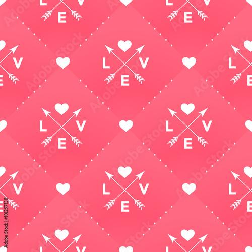 Materiał do szycia Bezszwowe biały wzór miłości, serca i strzałkę w stylu vintage na czerwonym tle na Walentynki. Ilustracja wektorowa.