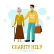 Volunteers Charity Help Organization Flat Poster