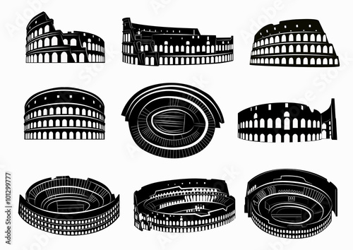 Fotomural Different views of roman Colosseum