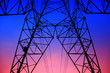 canvas print picture - The silhouette of high voltage towers