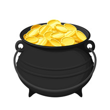 Vector Black Pot Of Gold Coins...