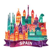 Spain Detailed Skyline. Vector Illustration