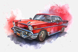 Watercolor hand-drawn old-fashioned red car  - 101302312