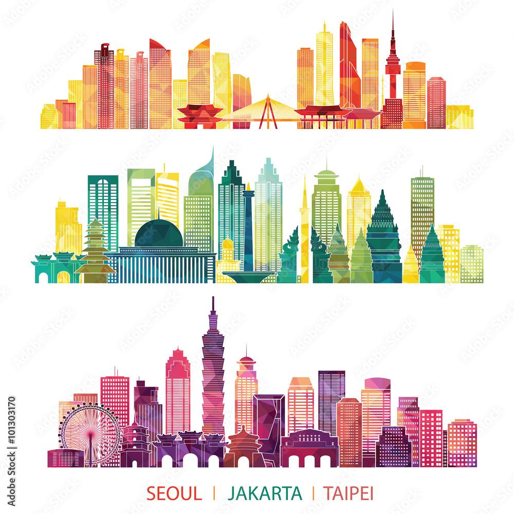 Photo & Art Print skyline detailed silhouette set (Seoul, Jakarta ...