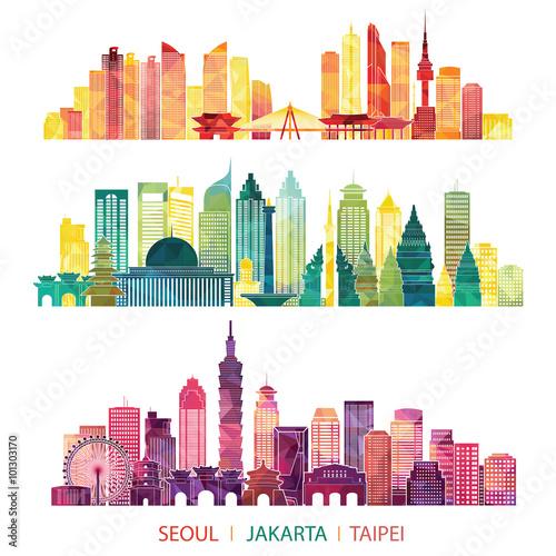 skyline detailed silhouette set (Seoul, Jakarta, Taipei) Poster