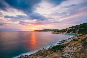 Fototapeta Sunrise in Greece, Halkidiki, Sykia - Europe