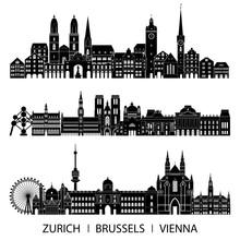 Skyline City Set (Zurich, Brussels, Vienna). Vector Illustration