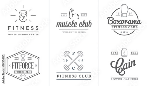 Fototapety, obrazy: Set of Vector Fitness Aerobics Gym Elements and Fitness Icons Illustration can be used as Logo or Icon in premium quality