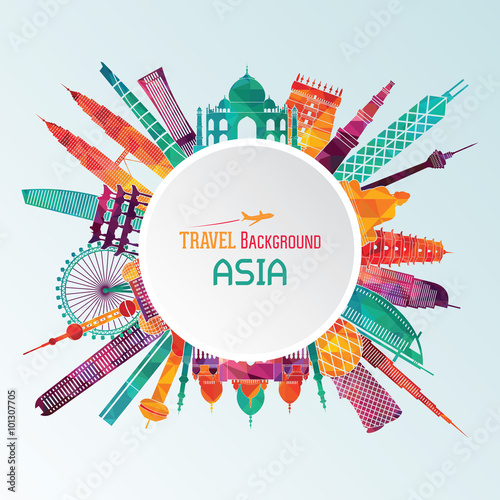 Asia detailed silhouette. Vector illustration