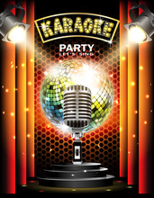 Stage With Podium,retro Microphone, Disco Ball And Spotlights. Disco Party Or Karaoke Background.