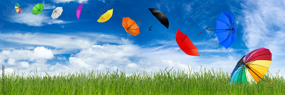 Fototapety, obrazy: flying colorful umbrellas on grass in front of blue sky