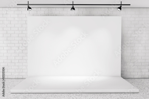 Fotomural White Backdrop Stage in Room with Brick Wall