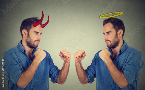 Side profile man good fighting evil Wallpaper Mural