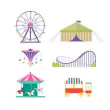 Amusement Park Vector Set. Ferris Wheel, Roller Coaster, Popcorn
