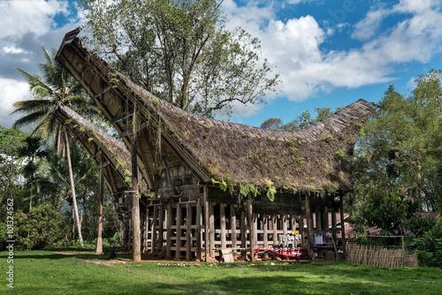 Foto op Plexiglas Indonesië Tongkonan traditional houses in Buntu Pune village