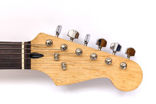 Neck Electric Guitar, Headstock Guitars And Tuners On A White Ba