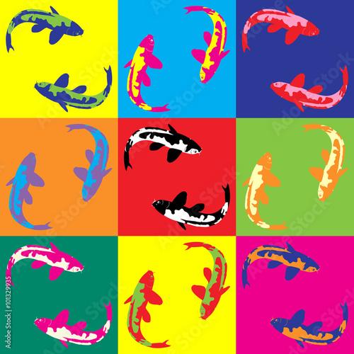 Photo  Retro pop art illustration fish koi
