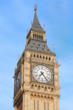 Big Ben Close Up In London, Blue Sky