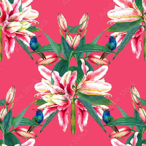 Bouquets Of Tropical Pink Lilies With Hummingbirds Seamless Floral