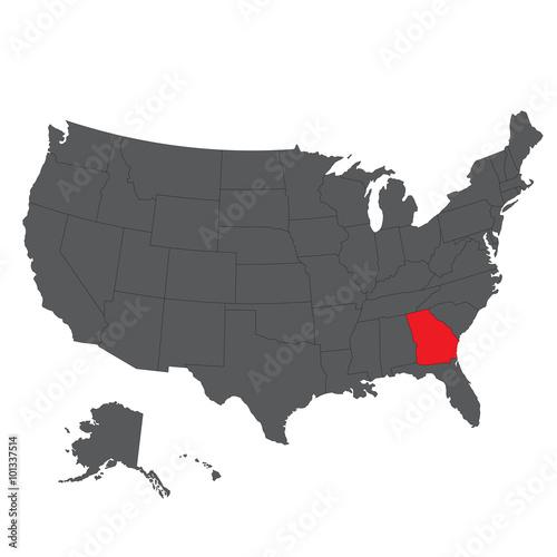 Georgia red map on gray USA map vector – kaufen Sie diese ...