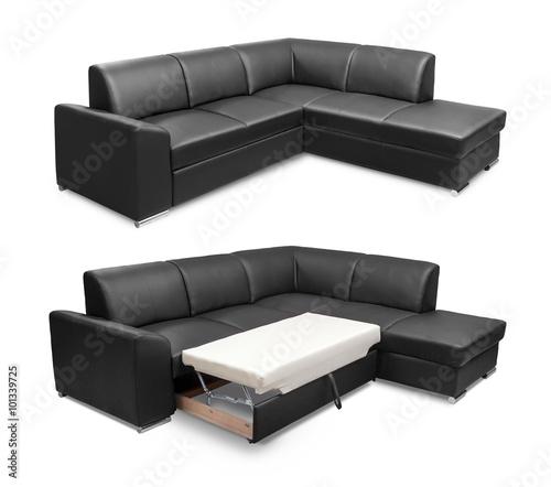 Corner leather sofa set isolated on white background with ...