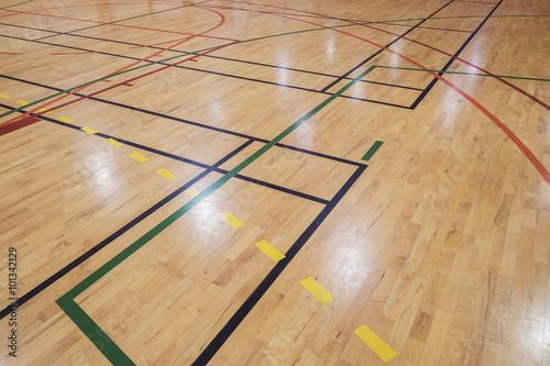 Fotografie, Tablou  Retro indoor gymnasium floor