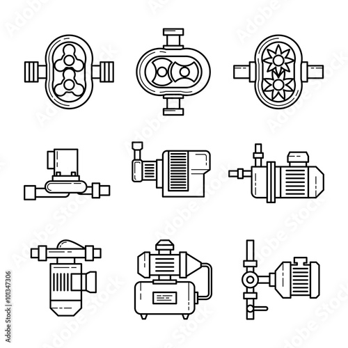 Fotomural Water pump vector line icons sets