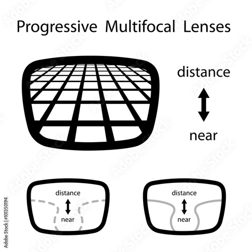 Fotografiet vector progressive multifocal glasses lenses