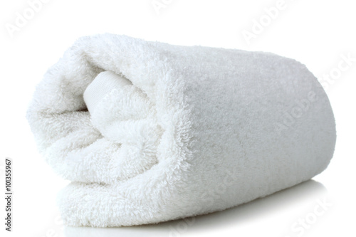 Fotografie, Obraz  soft bath towel rolled up on a white isolated background